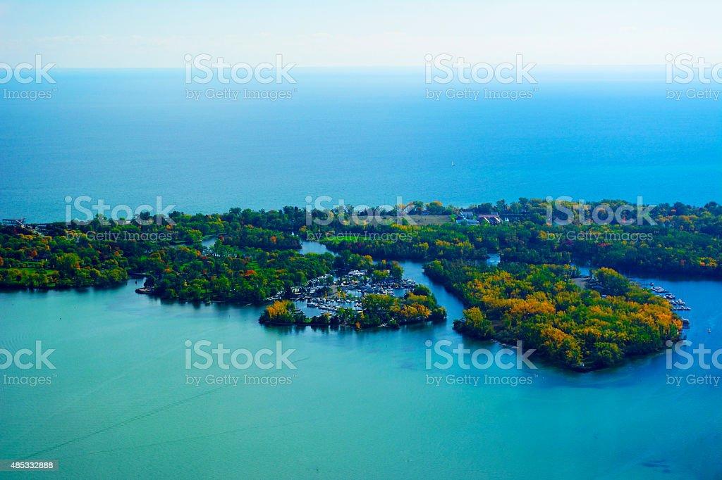 Toronto Islands and Lake Ontario stock photo