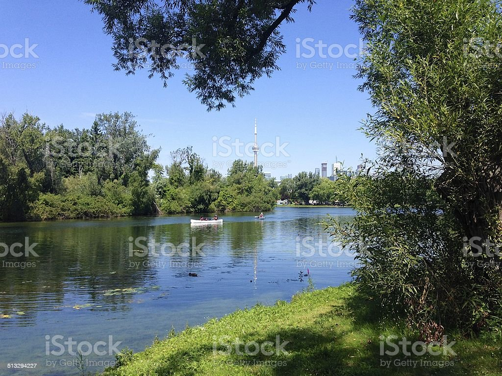 Toronto Islands nature scene with the Toronto skyline visible stock photo