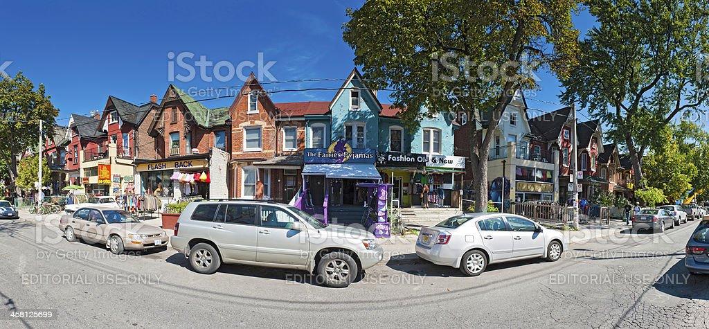Toronto Kensington Market colourful shops panorama Canada royalty-free stock photo