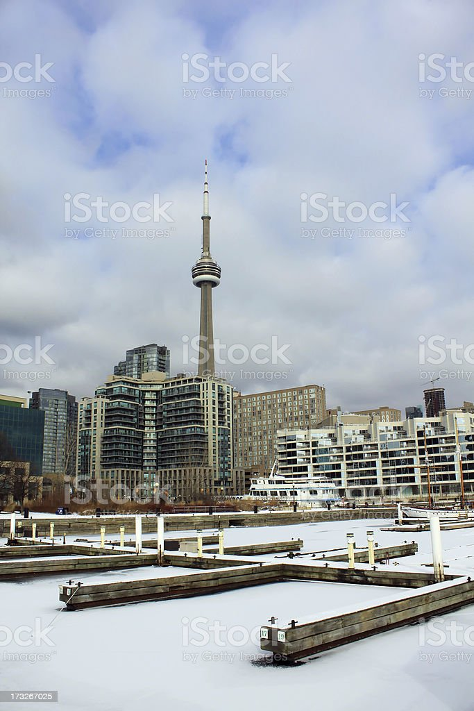 Toronto marina in winter royalty-free stock photo