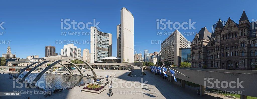 Toronto Nathan Phillips Square City Hall plaza panorama Canada royalty-free stock photo
