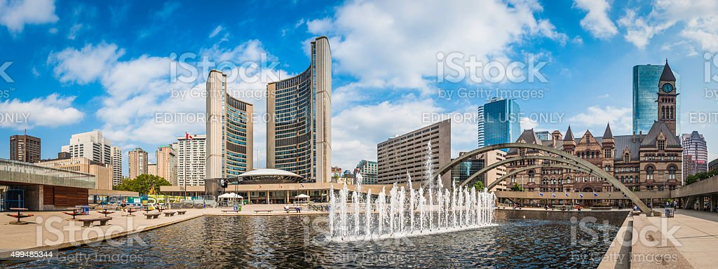 Toronto Nathan Phillips Square fountains City Hall cityscape panorama Canada stock photo