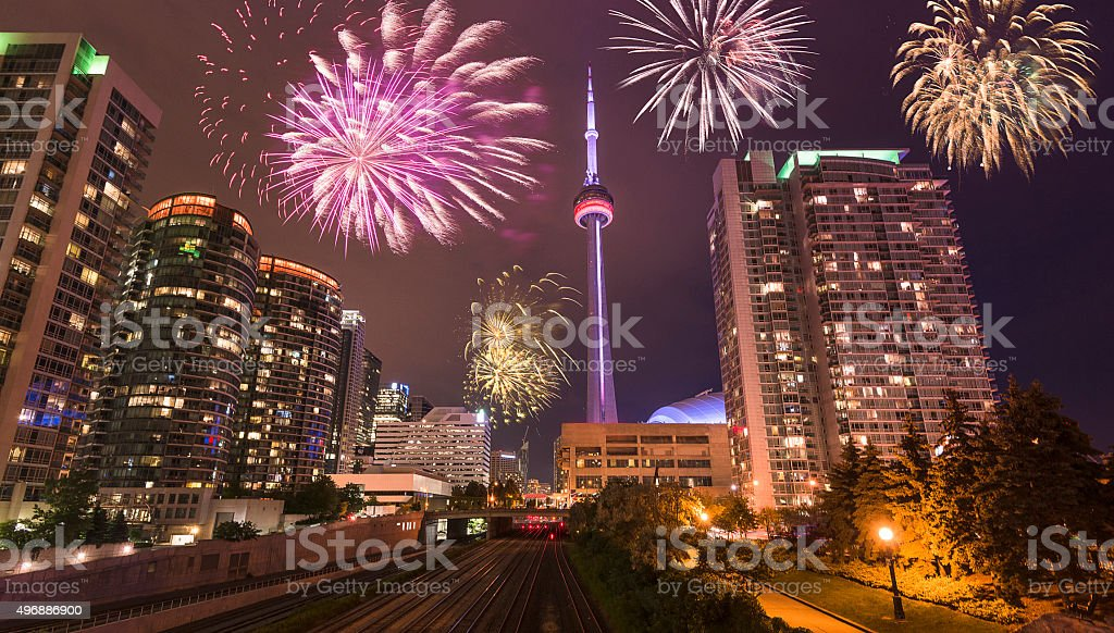 Toronto night view for the new year's eve stock photo