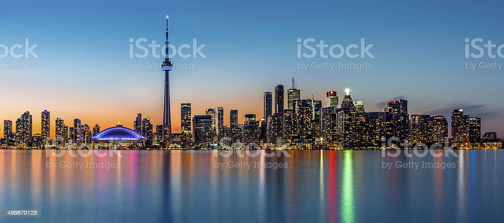 Toronto panorama at dusk stock photo