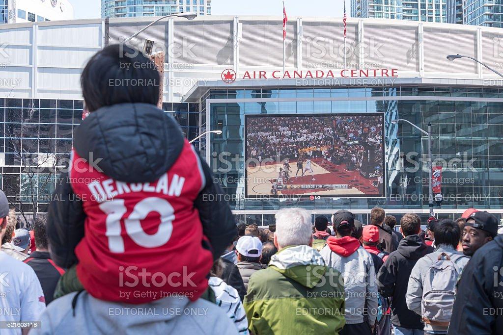 NBA: Toronto Raptors Play Off Game 1, Fans Outside ACC stock photo