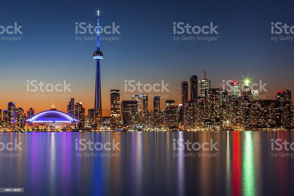 Toronto skyline at dusk stock photo