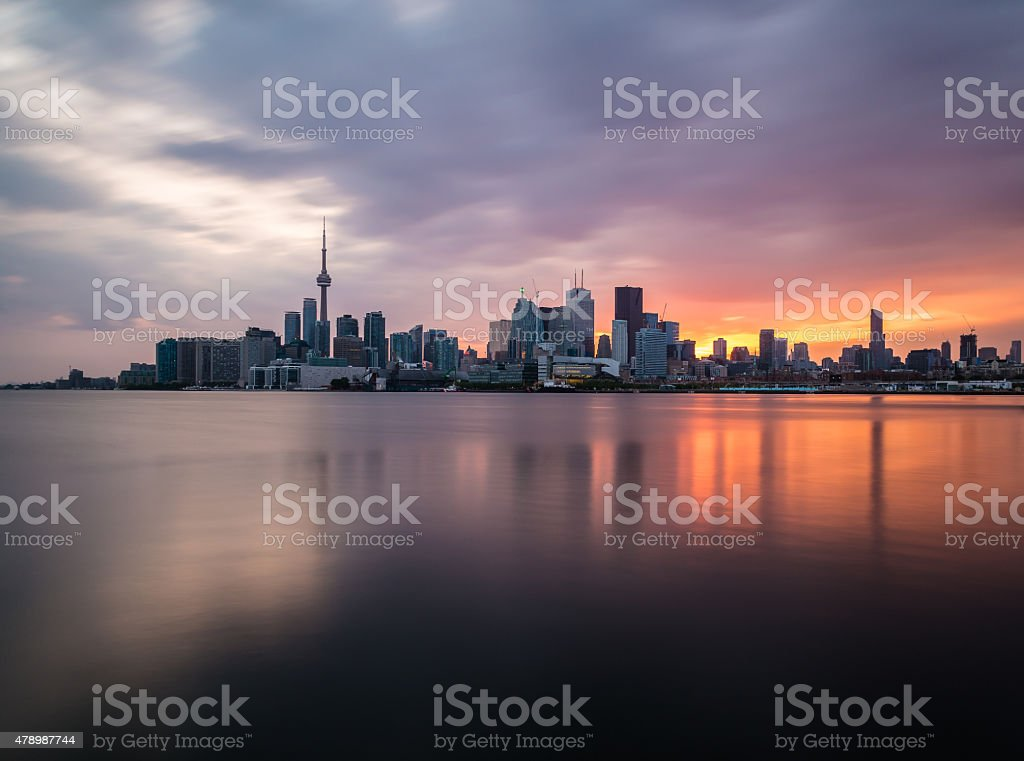 Toronto Skyline at Sunset stock photo