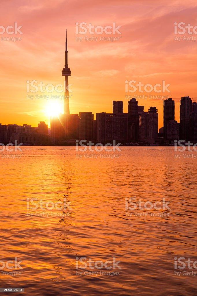 Toronto skyline at sunset stock photo