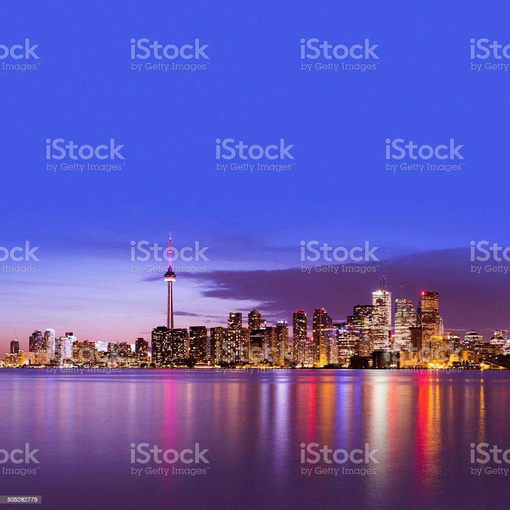 Toronto skyline at twilight stock photo