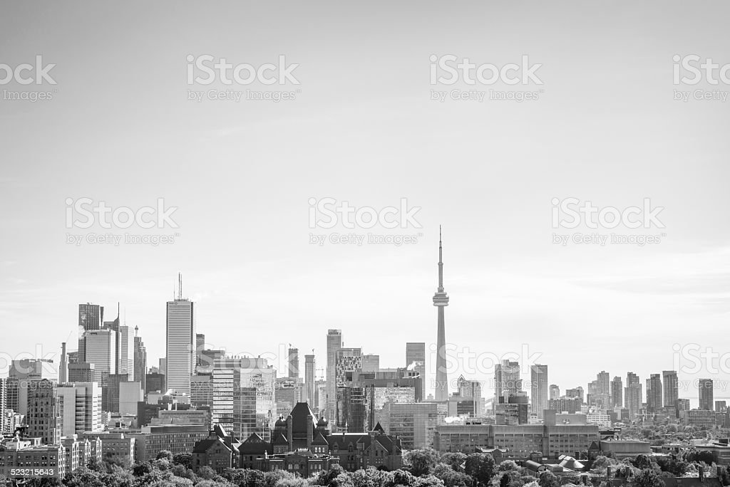 Toronto Skyline Cityscape Black And White stock photo