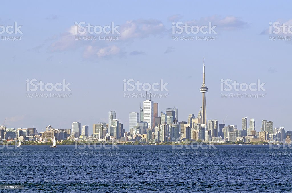 Toronto skyline from Ontario lake stock photo