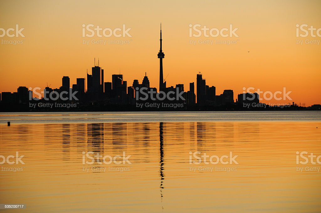 toronto skyline morning stock photo