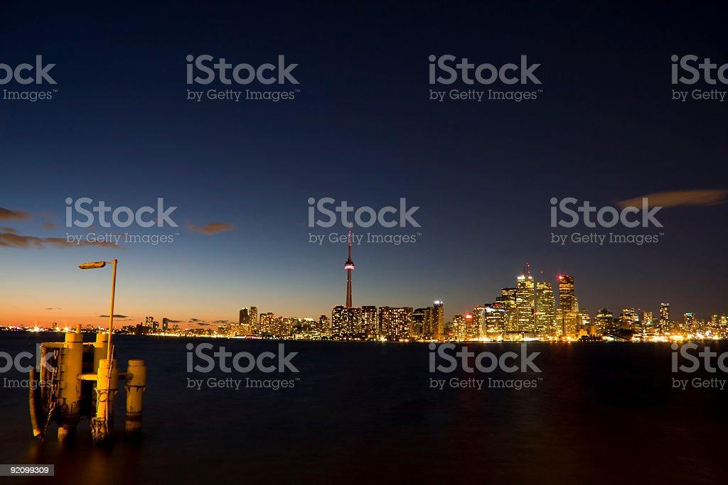 Toronto Skyline Tower and Light royalty-free stock photo