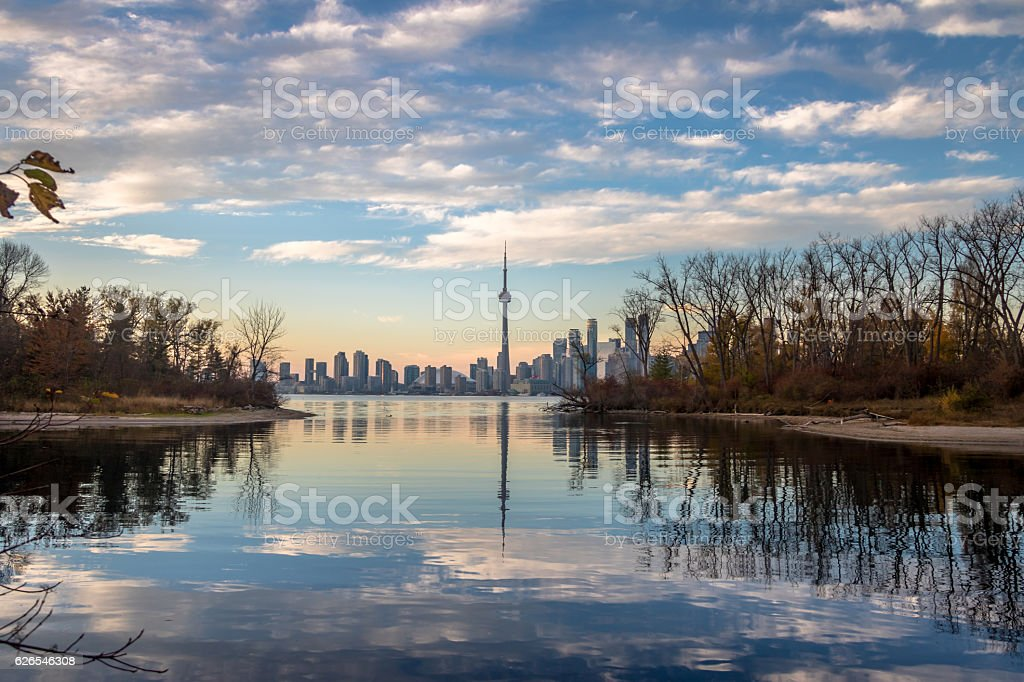 Toronto Skyline view from Toronto Islands - Toronto, Ontario, Canada stock photo