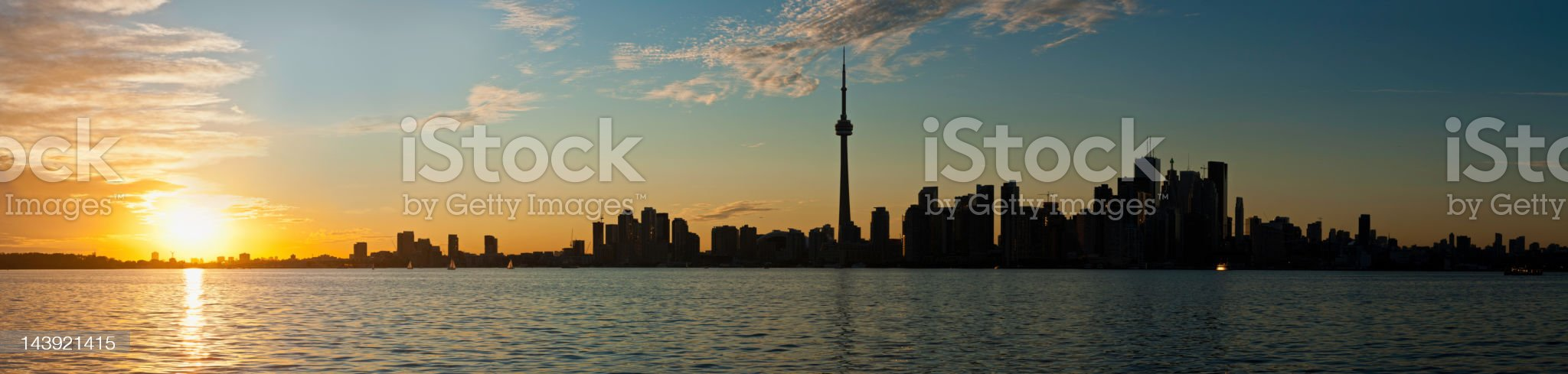Toronto sunset skyline CN Tower downtown Lake Ontario Canada royalty-free stock photo
