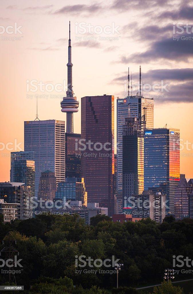 Toronto sunset skyscrapers golden skyline landmark downtown towers Ontario Canada stock photo