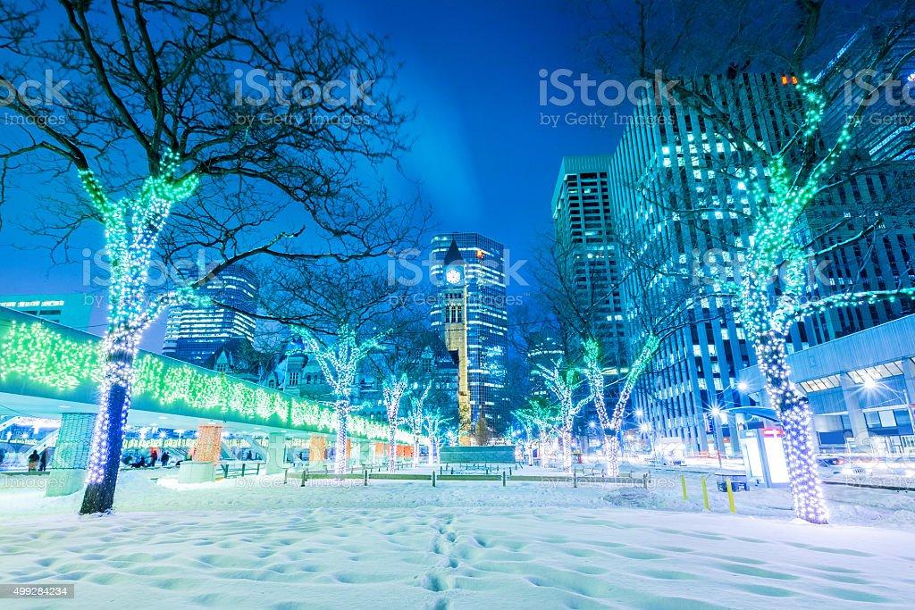 Toronto Winter Night with Christmas Lights stock photo