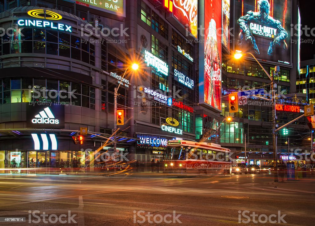 Toronto Yonge Dundas Square at Night stock photo
