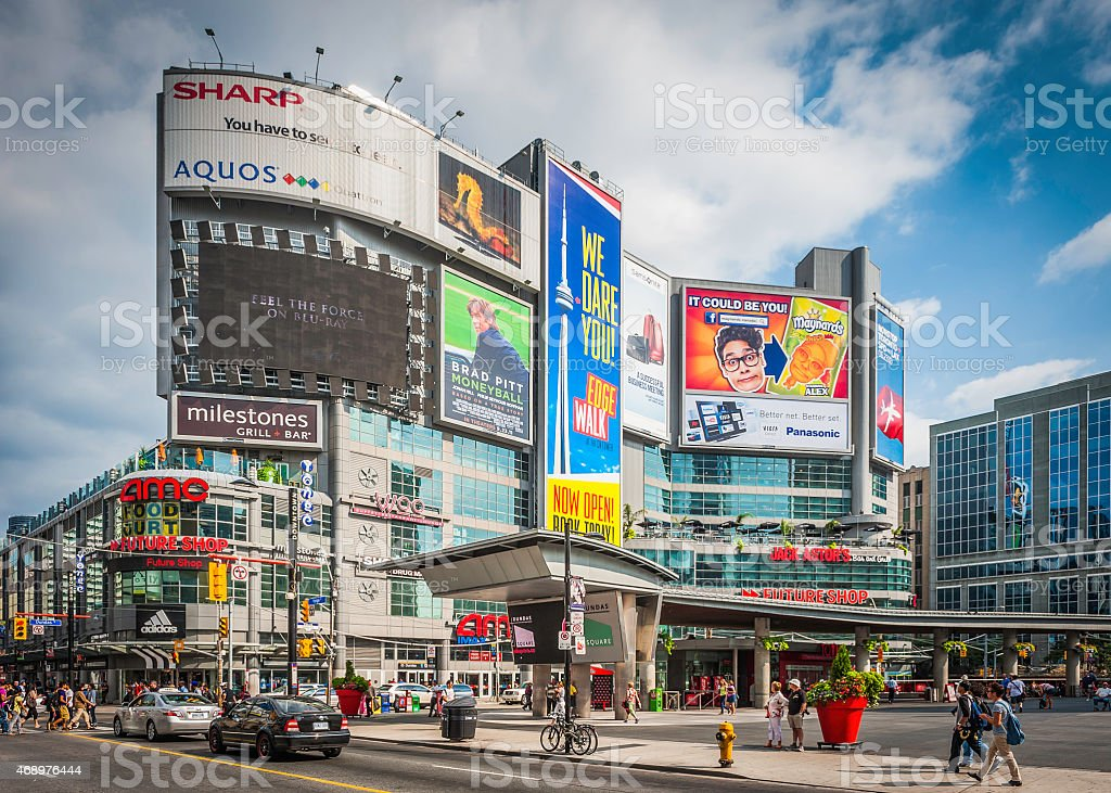 Toronto Yonge Dundas Square colorful billboards and crowds Ontario Canada stock photo
