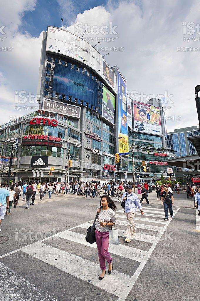 Toronto Yonge-Dundas Square billboards busy streets royalty-free stock photo