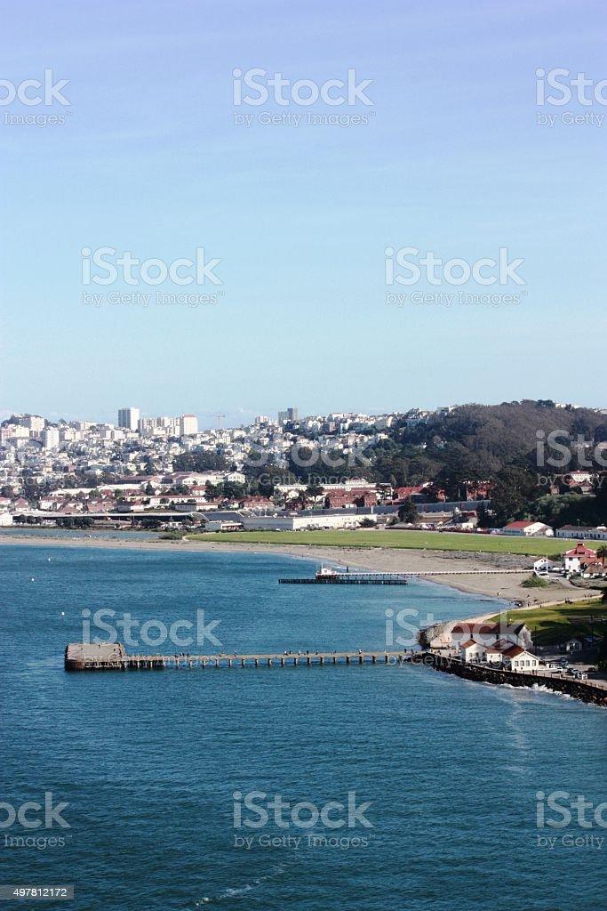Torpedo wharf and city skyline, Crissy Field of San Francisco stock photo