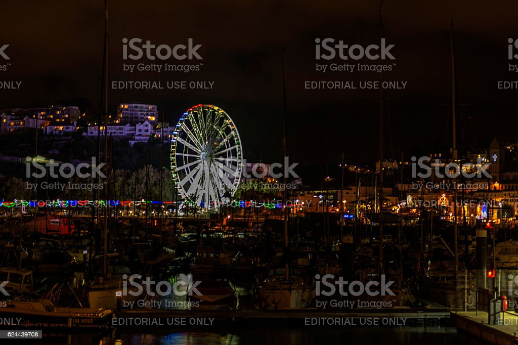Torquay (Torbay) Marina and Millenium Wheel Illumination stock photo