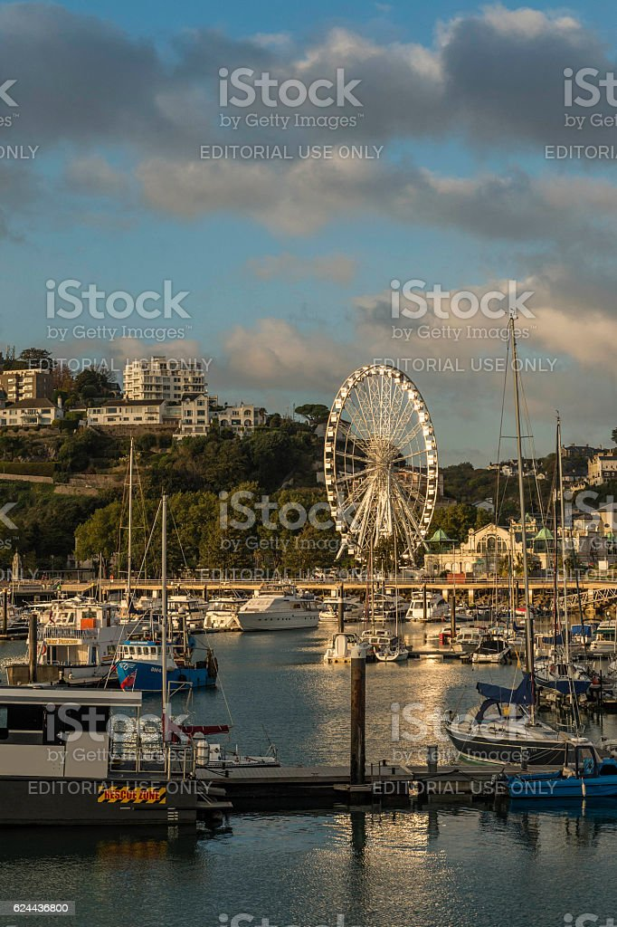 Torquay (Torbay) Marina and Millenium Wheel Sunset stock photo