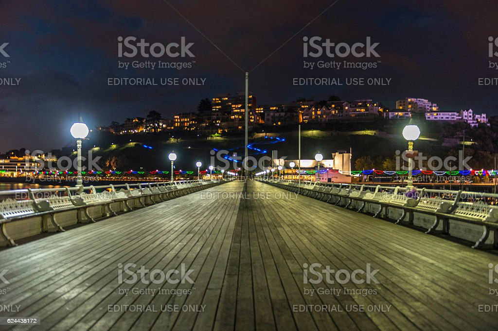 Torquay (Torbay) Marina and Princess Pier Illumination stock photo