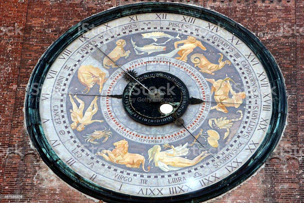 Torrazzo of Cremona - Astronomical clock stock photo