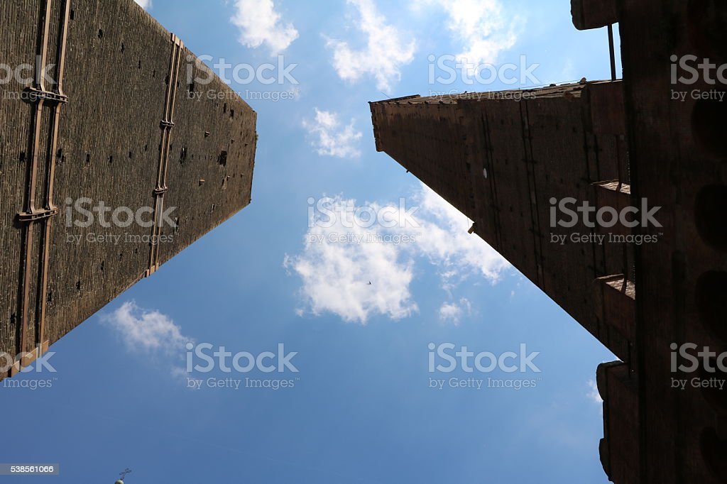 Torre Asinelli and Torre Garisenda upwards look, Bologna Italy stock photo