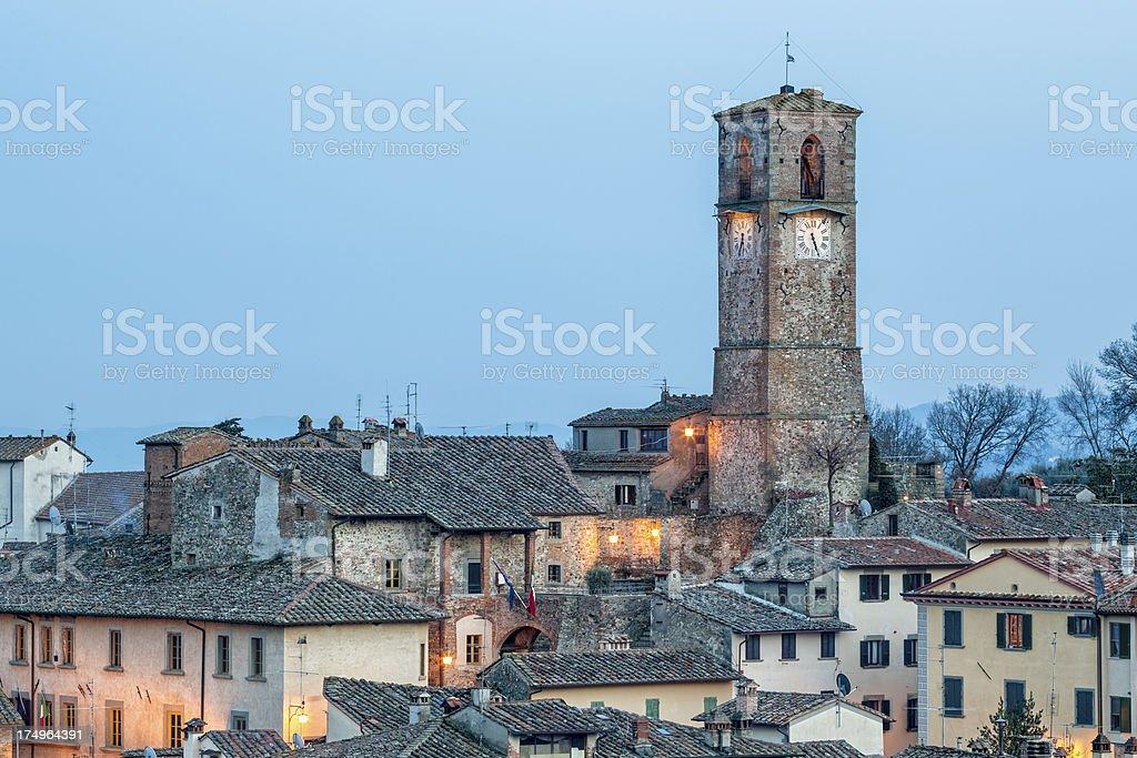 Torre Civica and city of Anghiari, Arezzo Province, Tuscany Italy stock photo