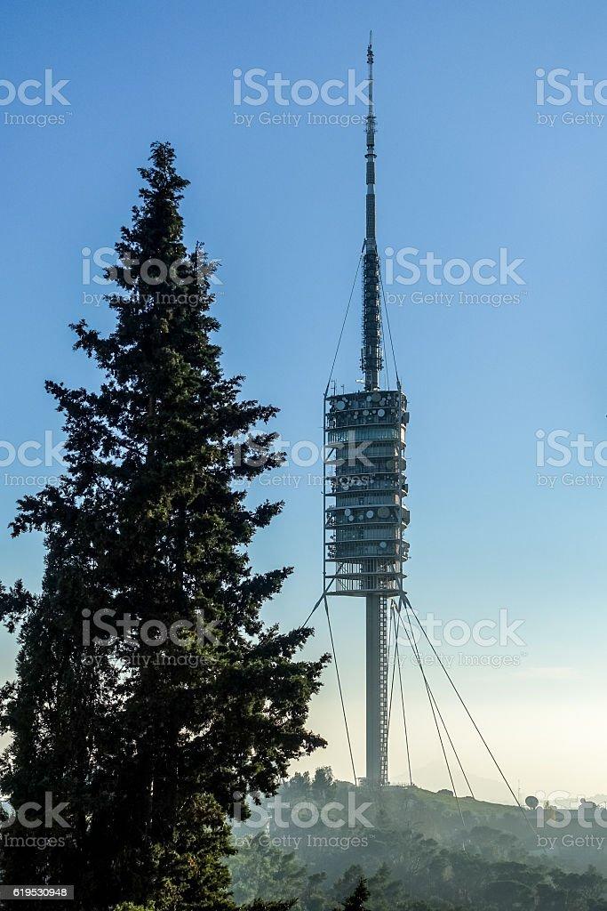 torre de collserola tibidabo barcelona comunication tower vertical stock photo