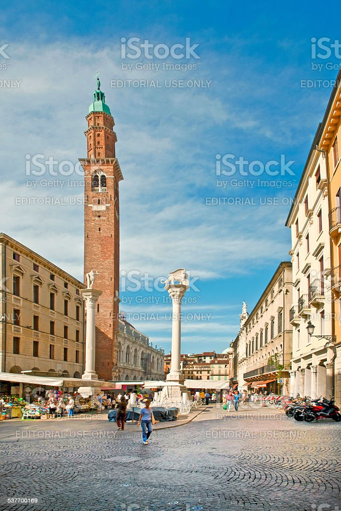 Torre dei Lamberti in Piazza delle Erbe, Verona stock photo