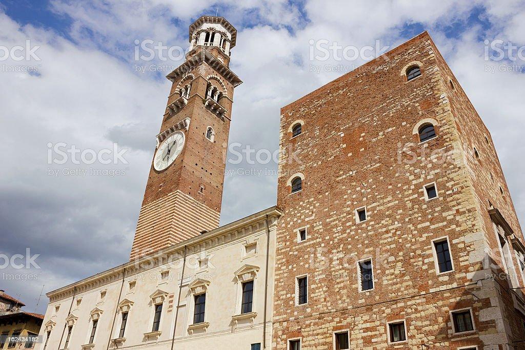 Torre dei Lamberti in Verona stock photo