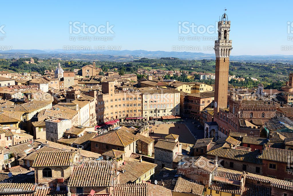Torre del Mangia and Piazza cel Campo, Siena stock photo