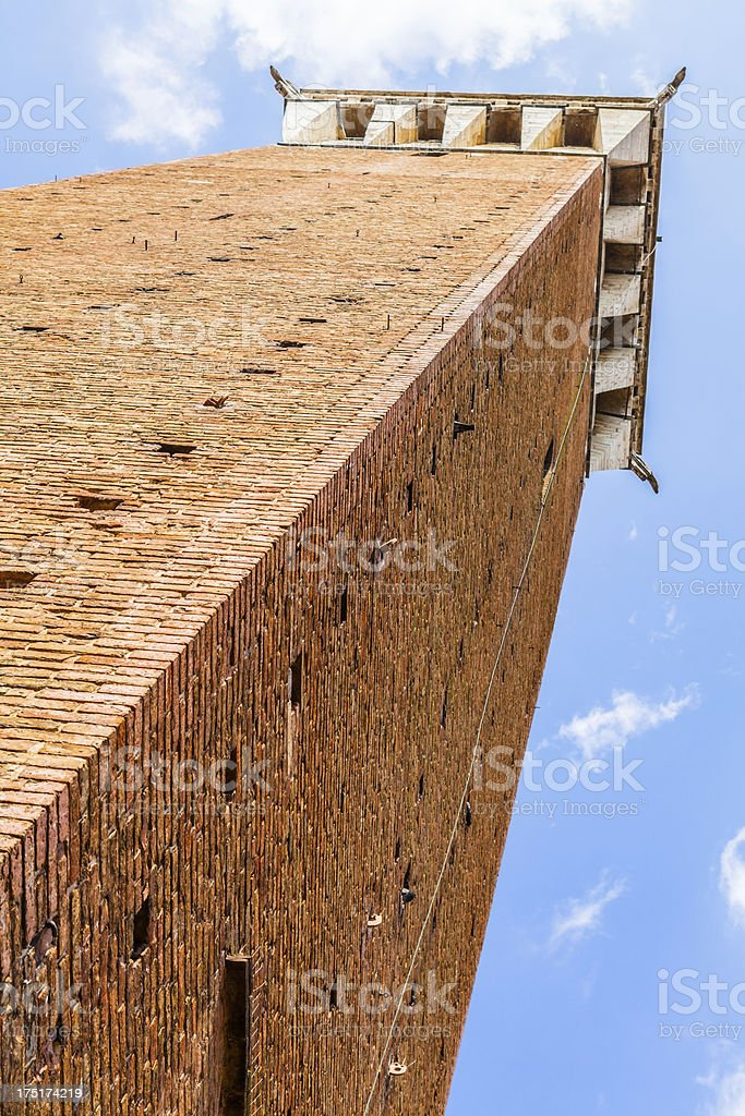Torre del Mangia from Below, Siena in Italy royalty-free stock photo