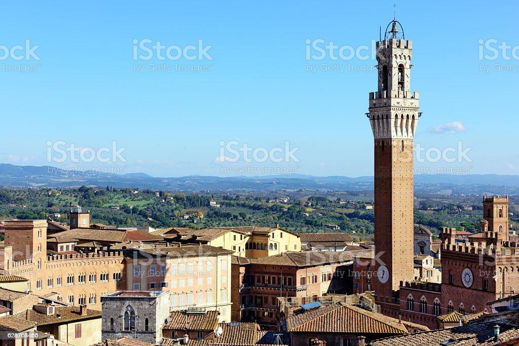 Torre del Mangia in Siena, Italy stock photo