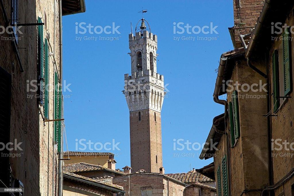 Torre del Mangia, Tuscany, Siena, Italy stock photo