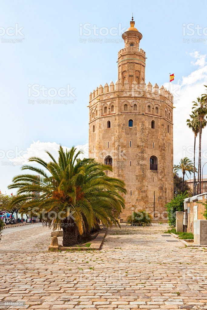 Torre del Oro, ancient lighthouse at Seville stock photo