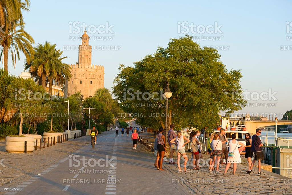 Torre del Oro and people in Seville, Spain stock photo