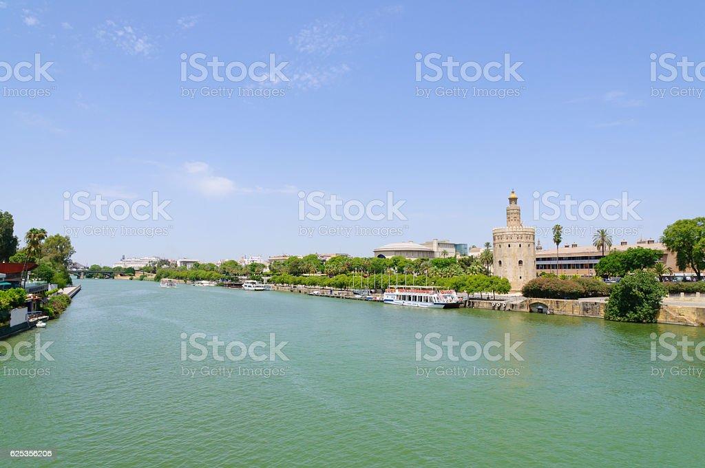 Torre del Oro and Rio Guadalquivir in Sevilla, Spain stock photo