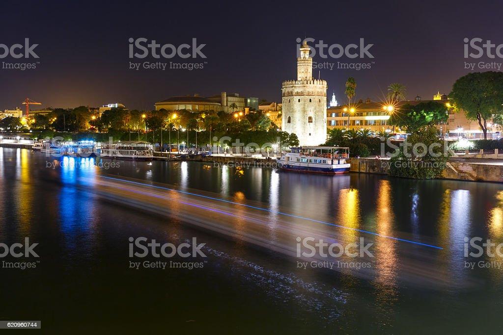 Torre del Oro at night in Seville, Spain stock photo