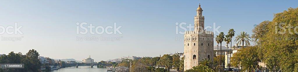 Torre del Oro Guadalquivir Seville panorama stock photo