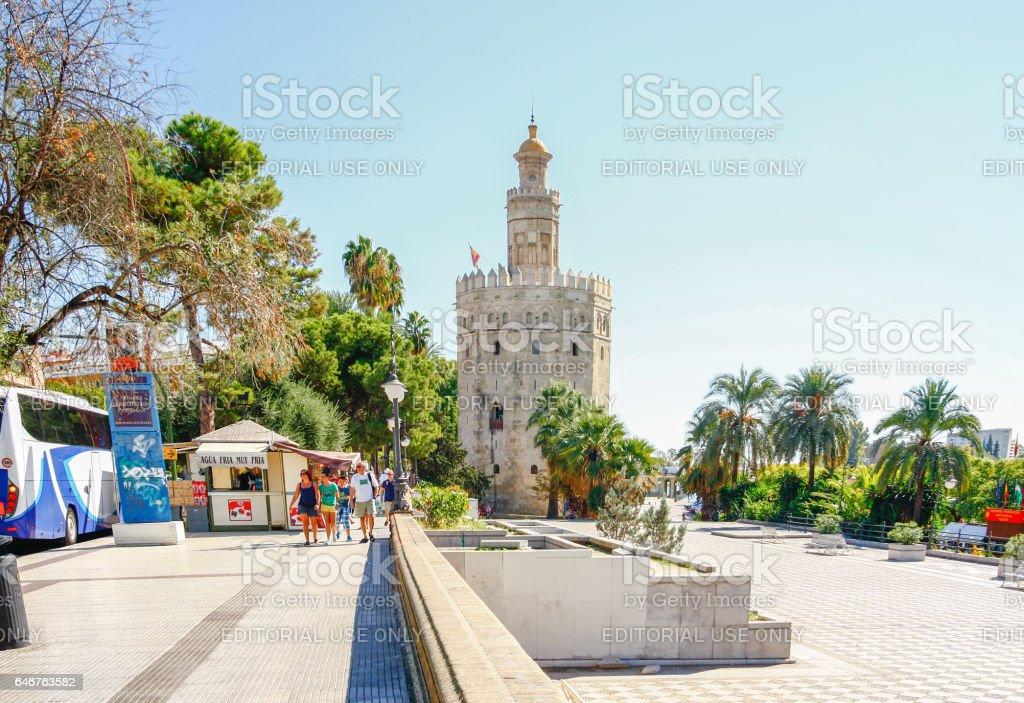 Torre del Oro near Guadalquivir river in Seville, Spain stock photo