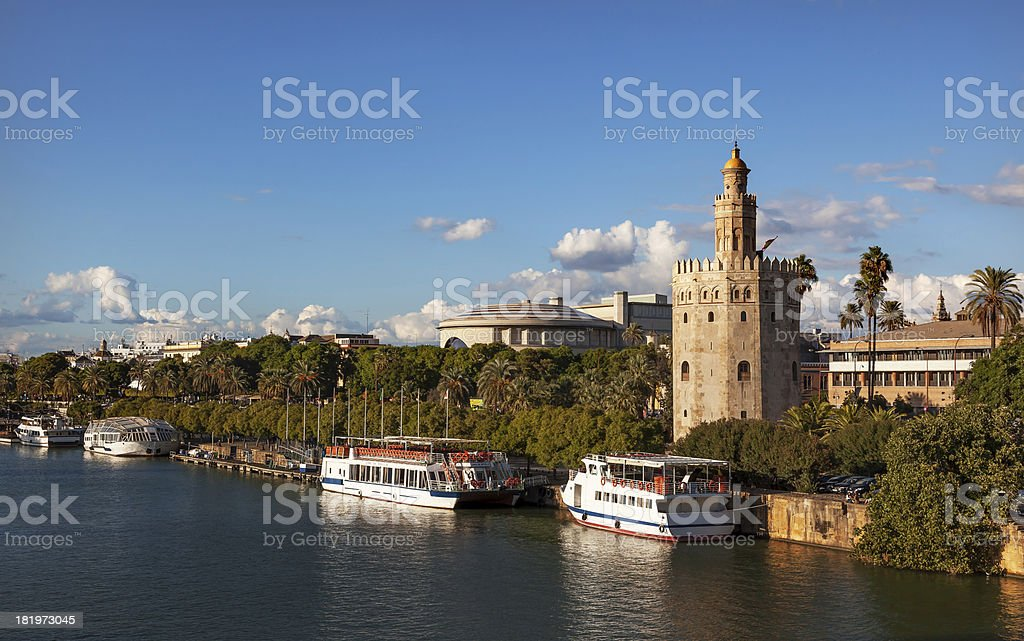 Torre del Oro Old Moorish Watchtower River Guadalquivr Seville Spain stock photo