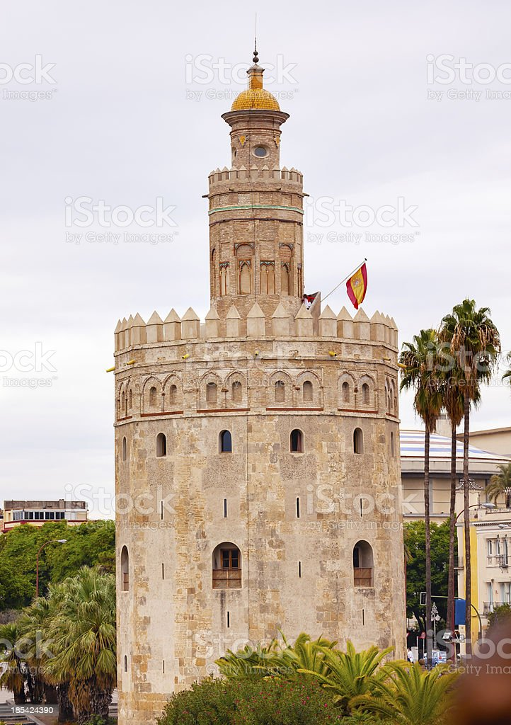 Torre del Oro Old Moorish Watchtower Seville Andalusia Spain stock photo