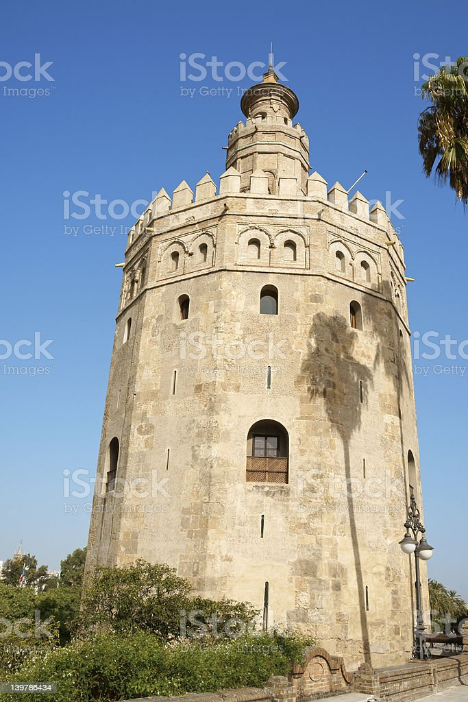 Torre del Oro or Gold Tower in Seville stock photo