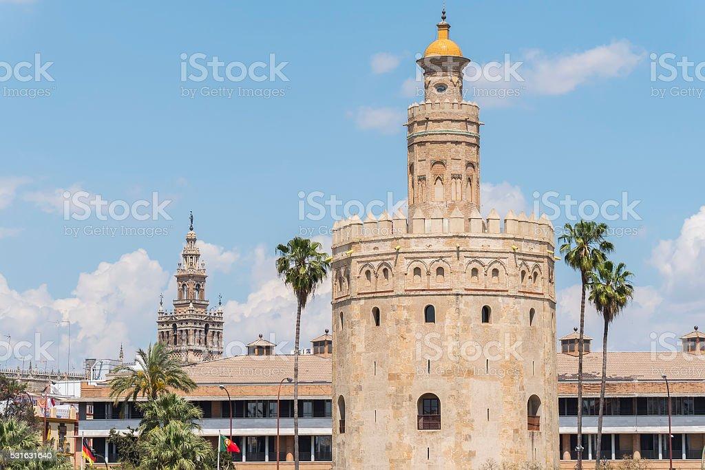 Torre del Oro, Sevilla, Guadalquivir river, Tower of gold, Sevil stock photo