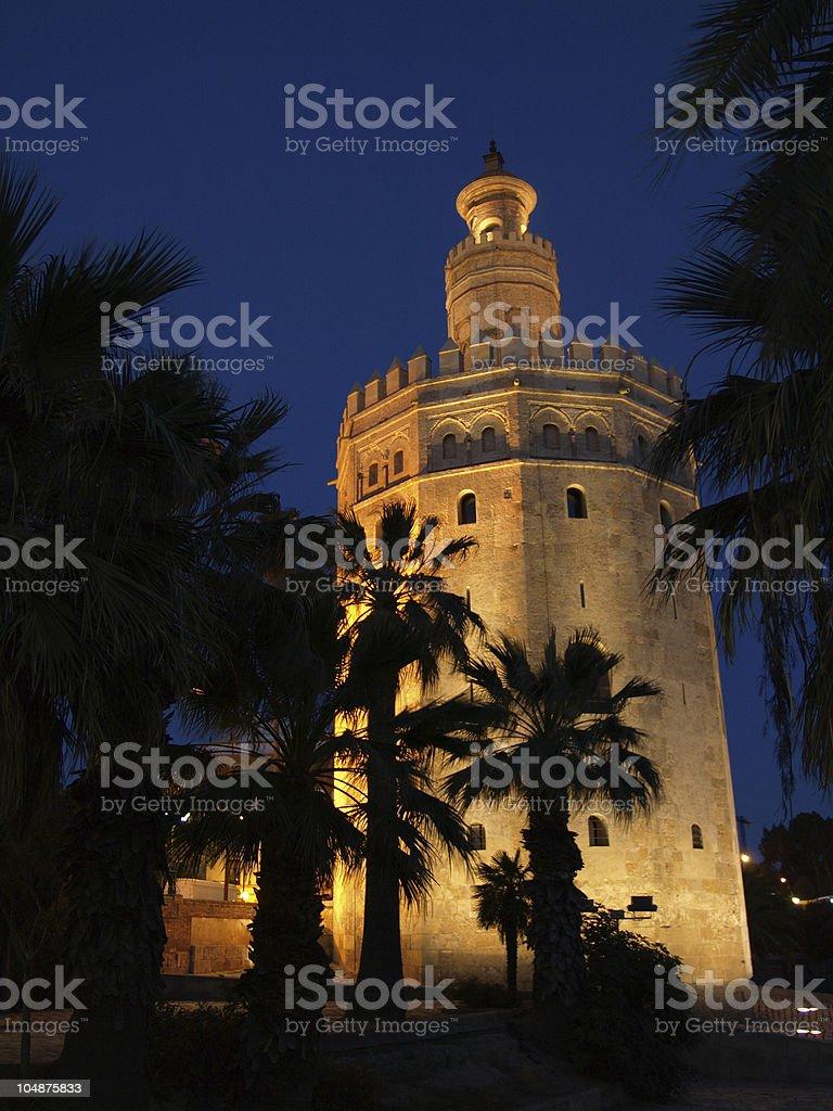 Torre del Oro, Seville, at night. stock photo