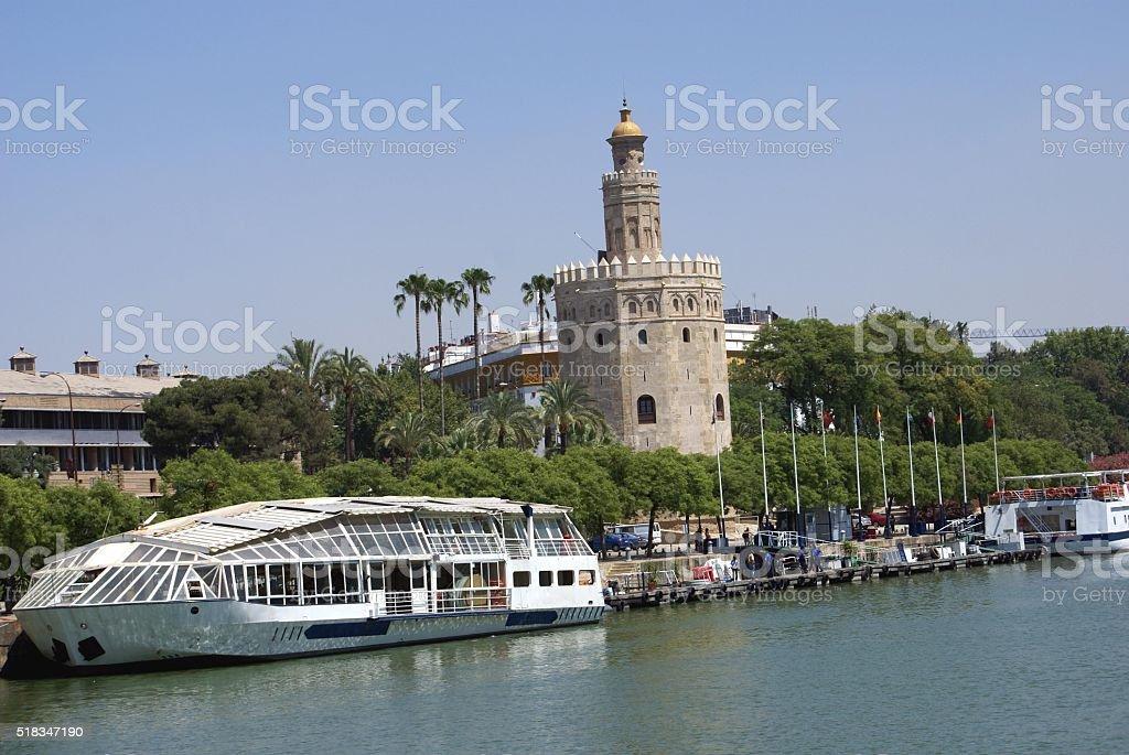 Torre del Oro, The Quadalquivir River Bank Seville Spain stock photo